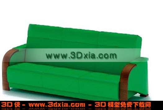 土气的深绿色双人沙发3d模型下载