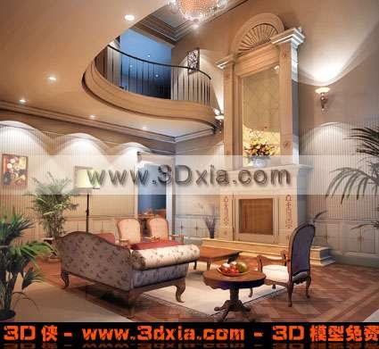 欧式豪华的楼中楼客厅3d模型