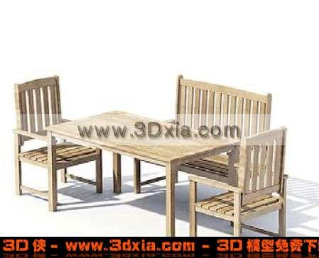 一组户外精美的木质桌椅组合3d模型