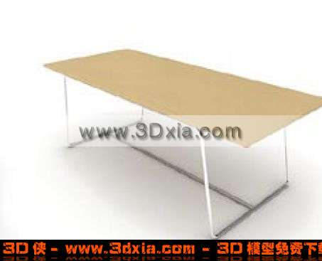 非常普通的长方形木板桌3d模型