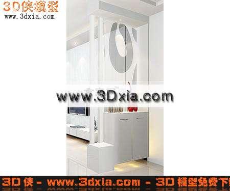 3d模型-白色时尚的玄关鞋柜
