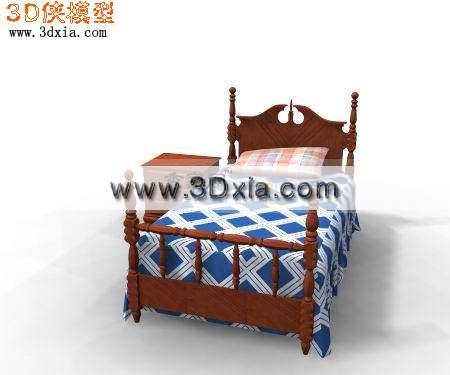 3d模型-欧式木质儿童床