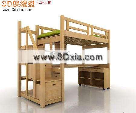 非常精细的的儿童上下床3d模型