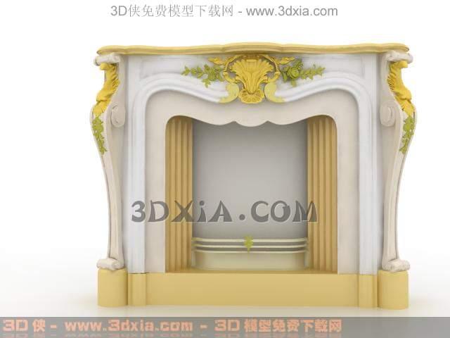 欧式壁炉3d模型下载渲染效果图片