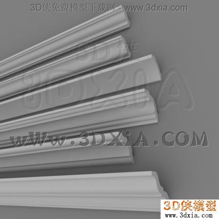石膏线3d模型-3dmax2009-плинтуса图片