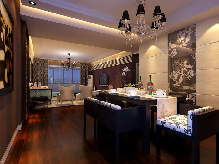餐厅装修效果图3D模型高清图片