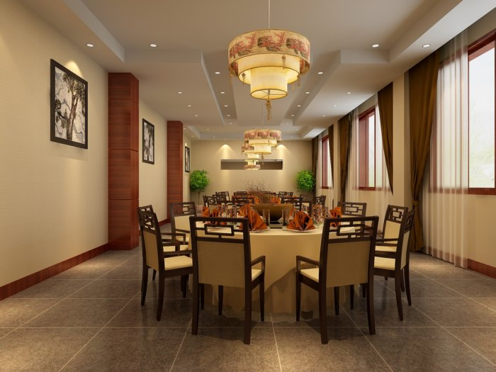 中式酒店包厢设计效果图