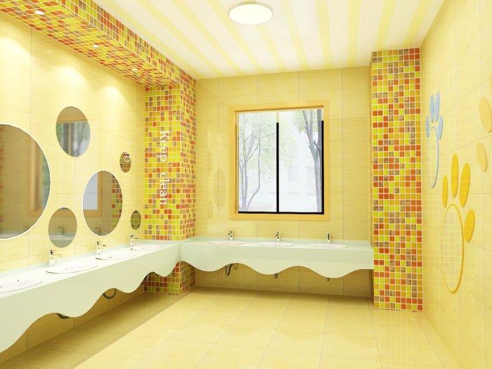 公共卫生间洗手台效果图