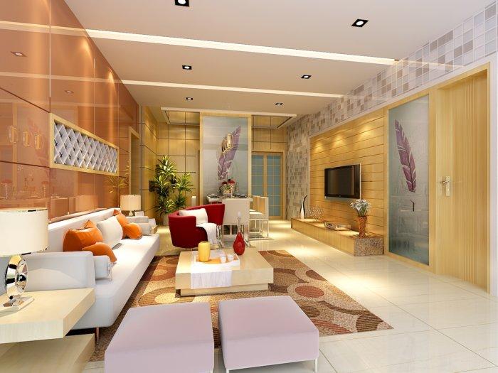 家装客厅装修3d模型渲染效果图片