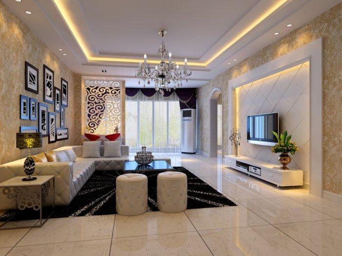 现代欧式客厅壁纸效果图