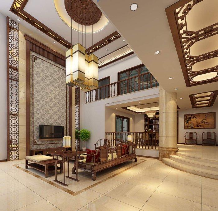 中式别墅客厅装修设计效果图