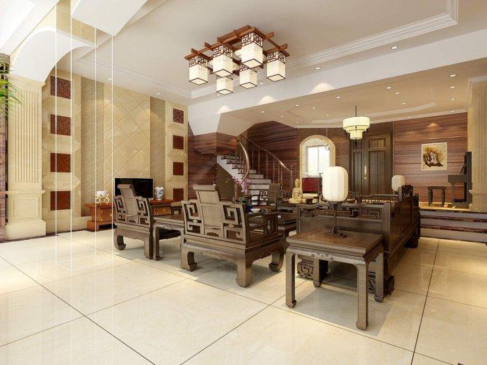 中式客厅别墅效果图渲染效果图片