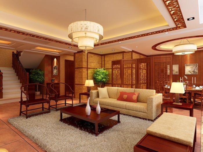 中式客廳格局效果圖