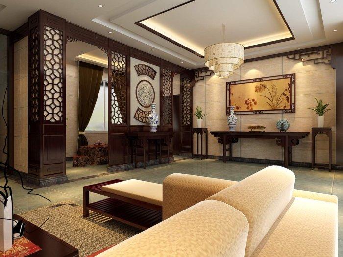 中式客厅设计装修效果图渲染效果图片