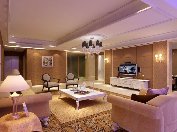 2013家装客厅装修设计效果3d模型渲染效果图片