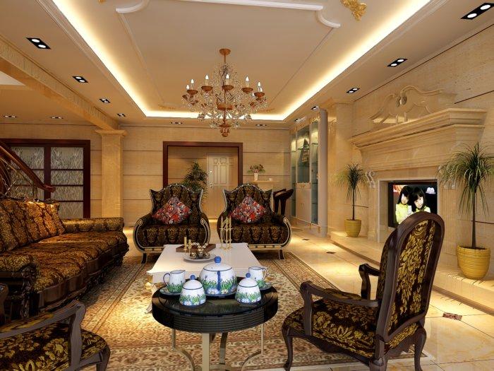 别墅客厅吊顶设计图渲染效果图片
