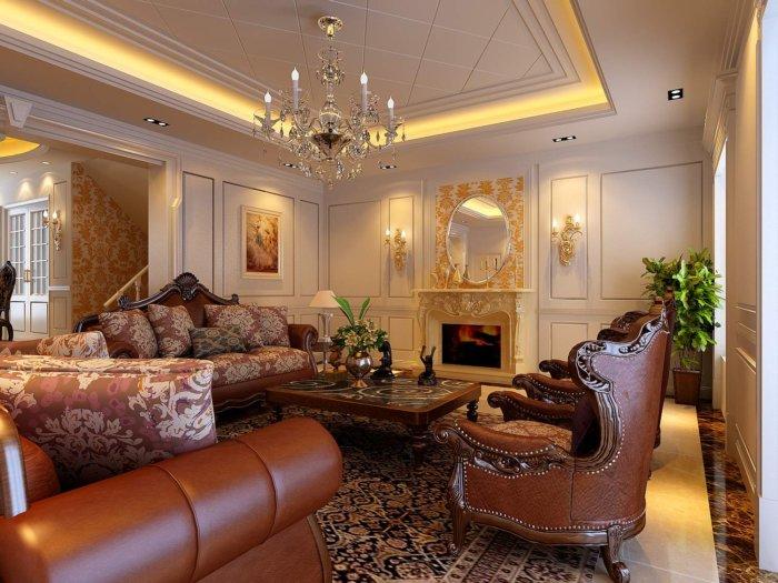 豪华欧式别墅客厅装修设计效果图渲染效果图片