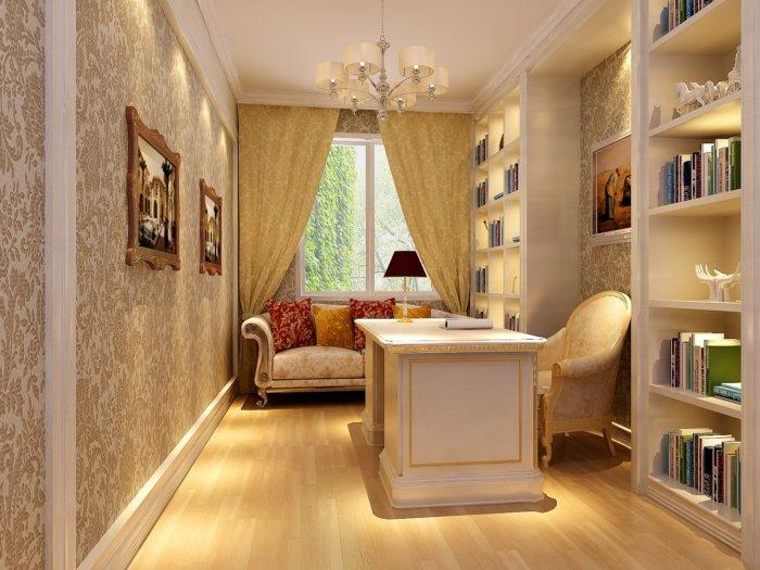 欧式小书房效果图渲染效果图片