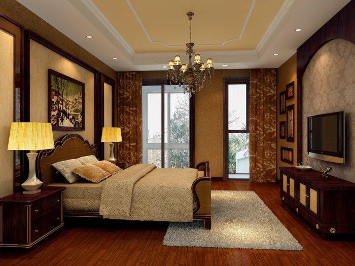 古典欧式卧室吊顶效果图渲染效果图片